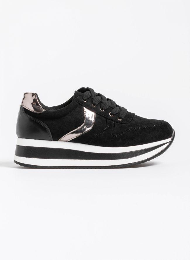 Αθλητικά παπούτσια με διπλή σόλα και λεπτομέρειες από μεταλλικό χρώμα - Μαύρο/Ατσαλί