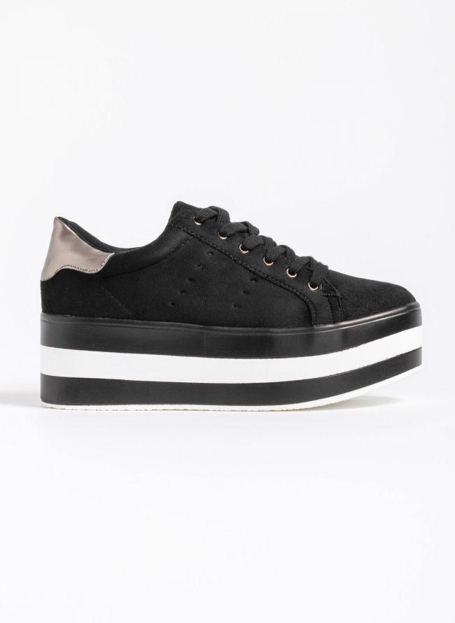 Αθλητικά παπούτσια με flatform σόλα - Μαύρο