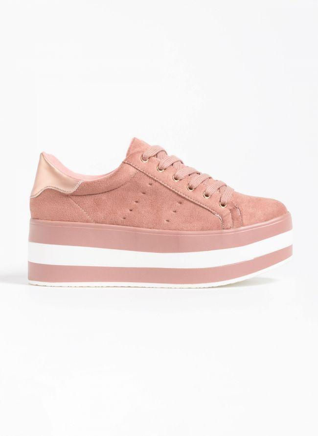 Αθλητικά παπούτσια με flatform σόλα - Ροζ