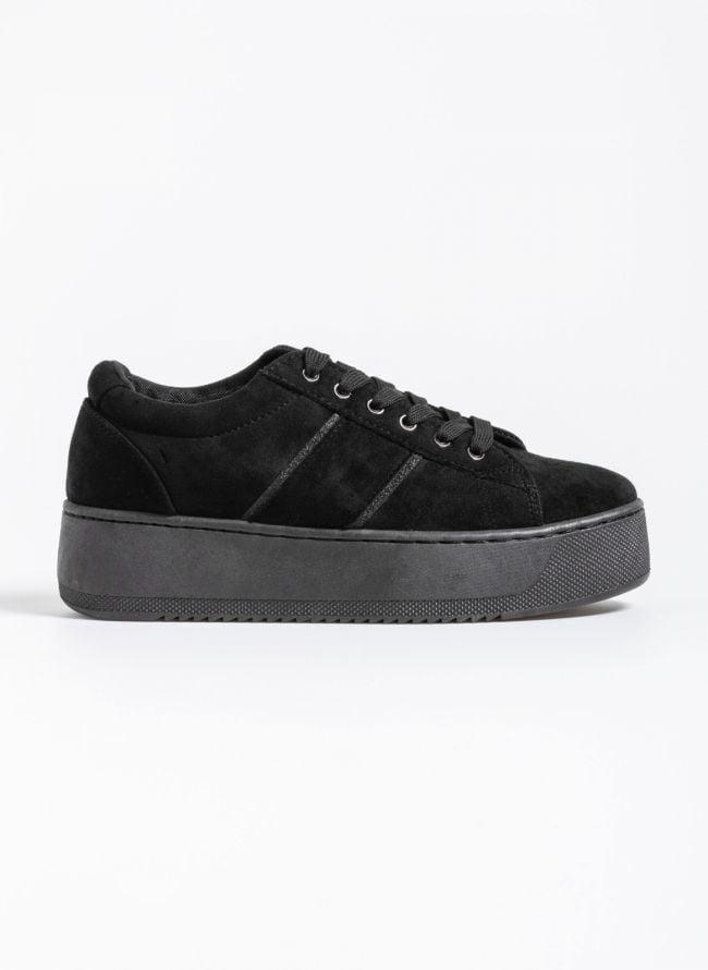 Αθλητικά παπούτσια με πλατφόρμα και glitter λεπτομέρειες - Μαύρο