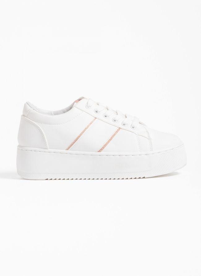 Αθλητικά παπούτσια με πλατφόρμα και glitter λεπτομέρειες - Λευκό/Χαλκό