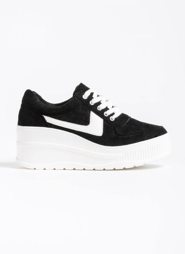 Αθλητικά παπούτσια με πλατφόρμα και συνδυασμό υφών - Μαύρο