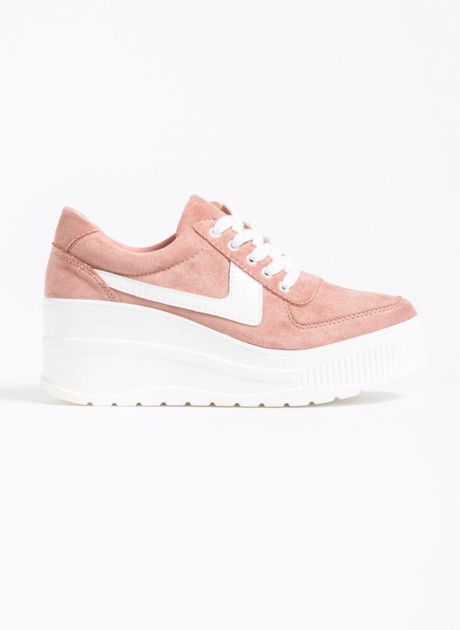 Αθλητικά παπούτσια με πλατφόρμα και συνδυασμό υφών - Ροζ
