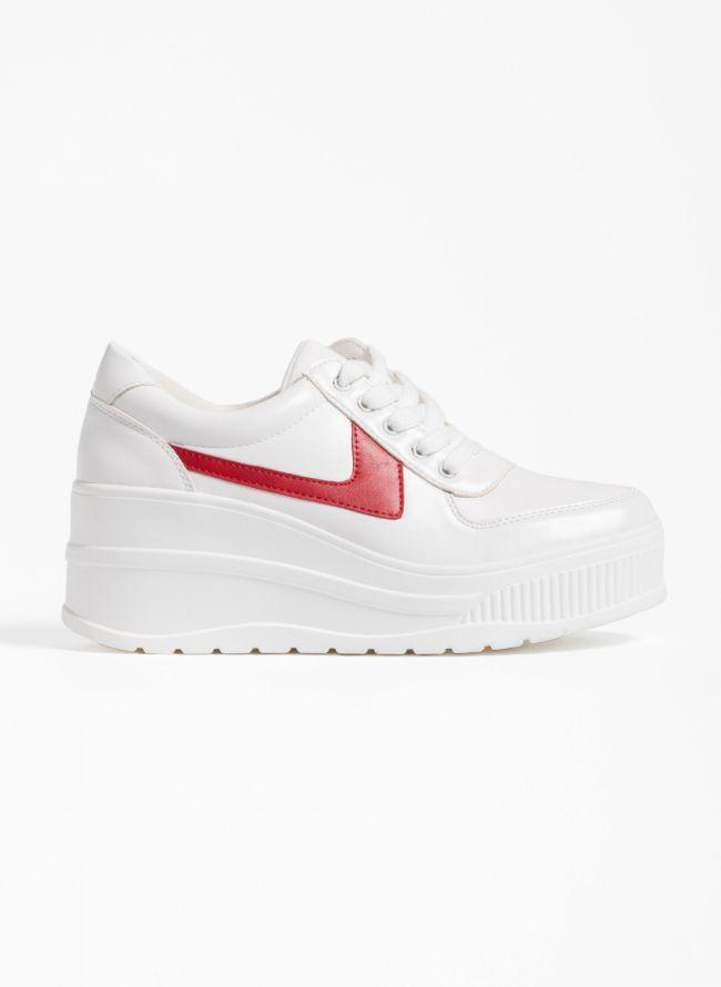 Αθλητικά παπούτσια με πλατφόρμα και συνδυασμό υφών - Λευκό/Κόκκινο