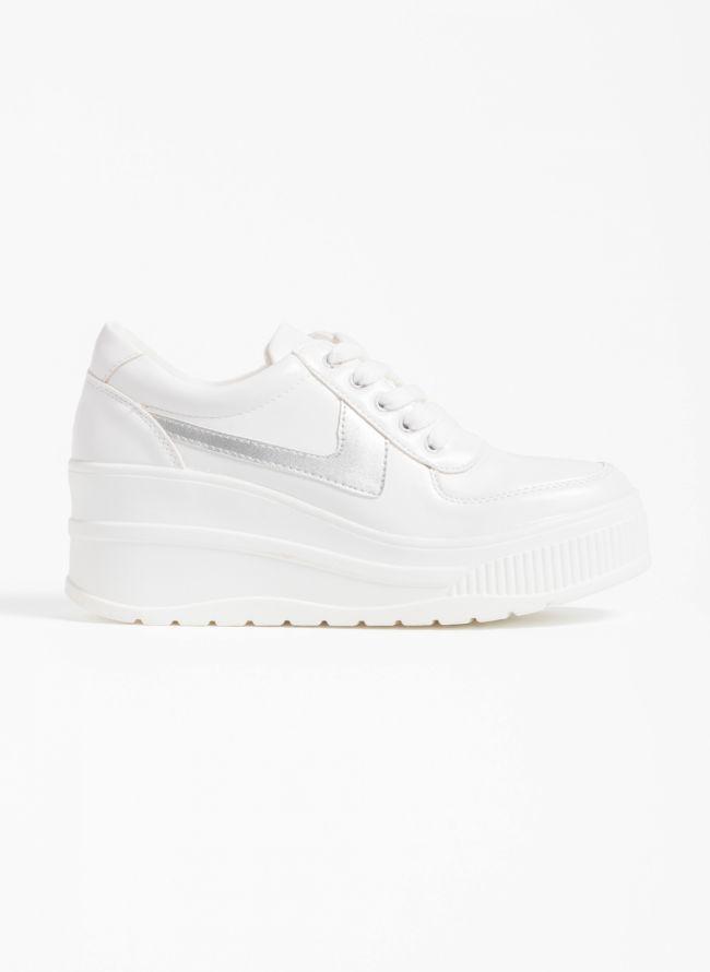 Αθλητικά παπούτσια με πλατφόρμα και συνδυασμό υφών - Λευκό/Ασημί