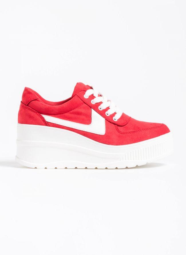 Αθλητικά παπούτσια με πλατφόρμα και συνδυασμό υφών - Κόκκινο