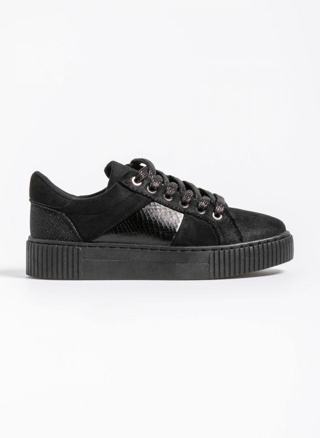 Αθλητικά παπούτσια με snakeprint λεπτομέρεια - Μαύρο