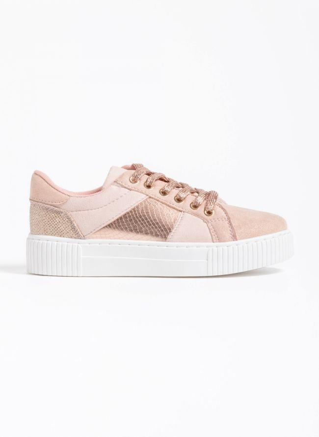 Αθλητικά παπούτσια με snakeprint λεπτομέρεια - Ροζ