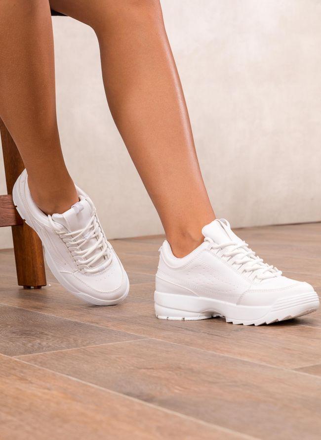 Αθλητικά παπούτσια μόδας με σόλα chunky - Λευκό