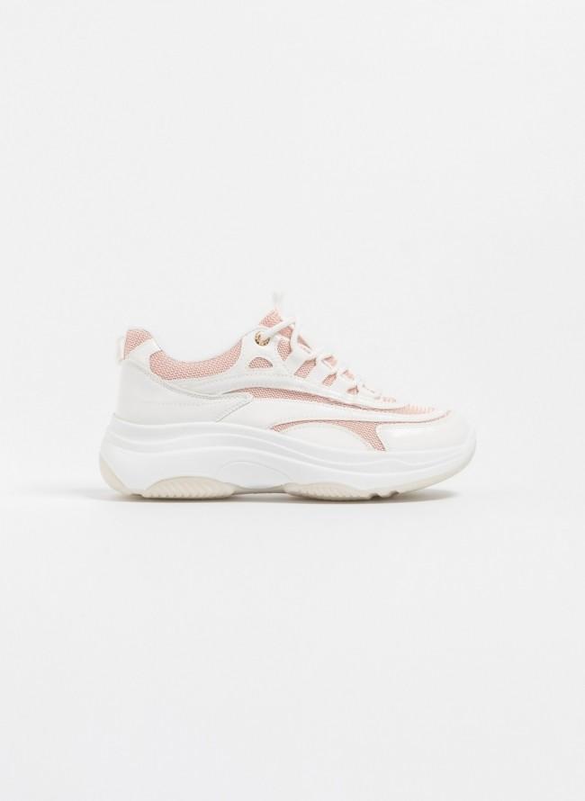 Αθλητικά σε συνδυασμό υλικών - Λευκό Ροζ - TheFashionProject 40c8939fa74