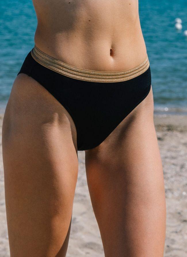 Αθλητικό Μαγιό High Thigh Slip ψηλόμεσο με λάστιχο χρυσό - Μαύρο