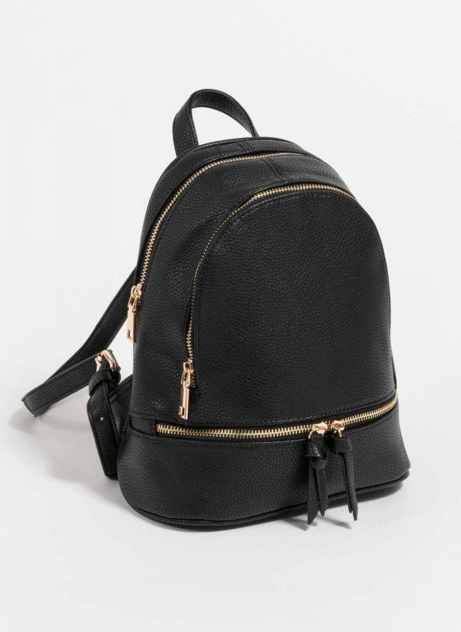 Mini backpack από μαλακού τύπου τεχνόδερμα - Μαύρο
