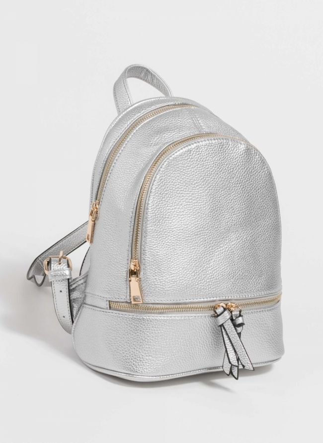 Backpack από μαλακού τύπου τεχνόδερμα - Ασημί