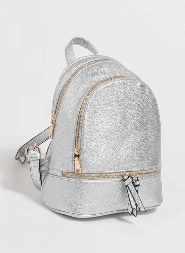 Mini backpack από μαλακού τύπου τεχνόδερμα - Ασημί