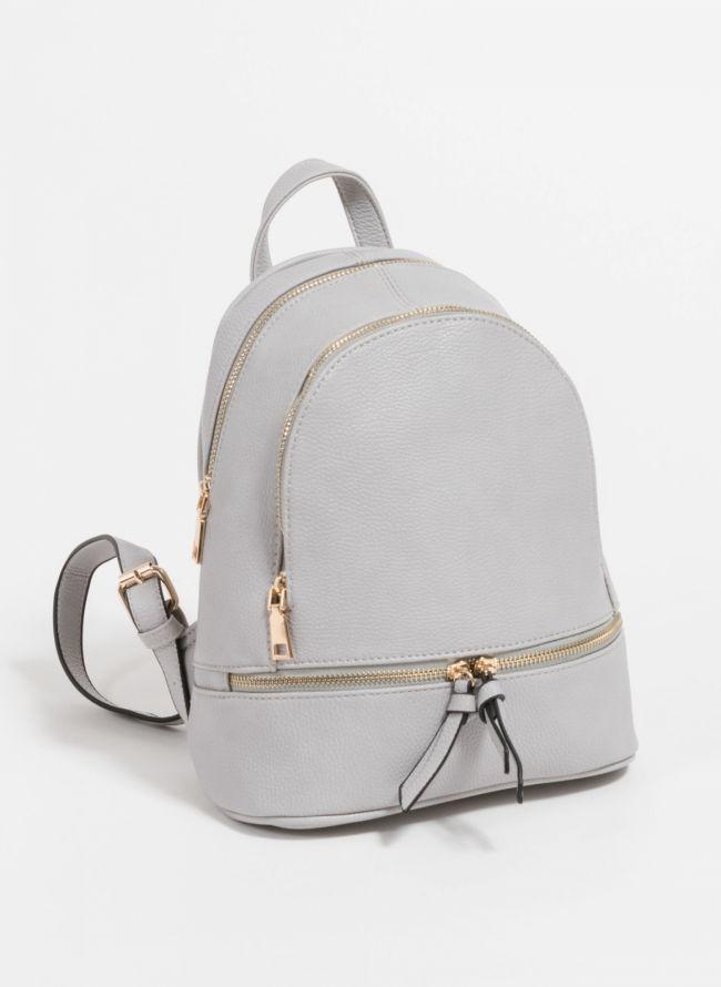 Mini backpack από μαλακού τύπου τεχνόδερμα - Γκρι