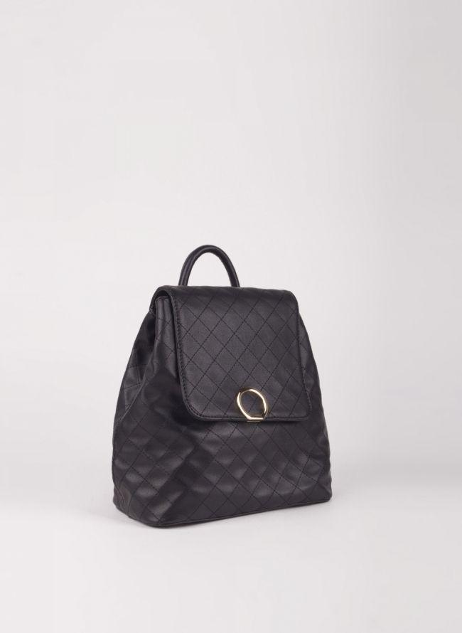 Backpack καπιτονέ με καπάκι - Μαύρο