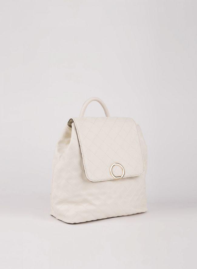 Backpack καπιτονέ με καπάκι - Μπεζ