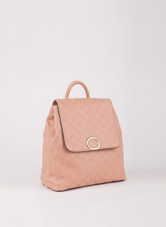Backpack καπιτονέ με καπάκι - Ροζ