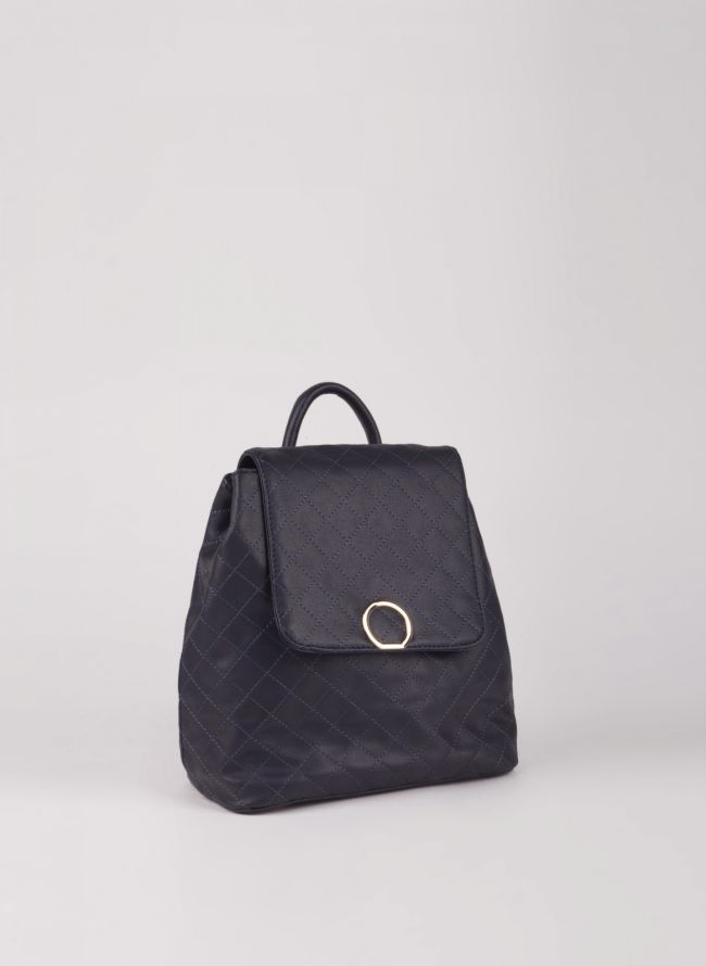Backpack καπιτονέ με καπάκι - Μπλε