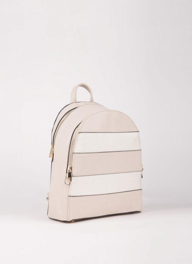 Backpack με διπλή θήκη - Μπεζ