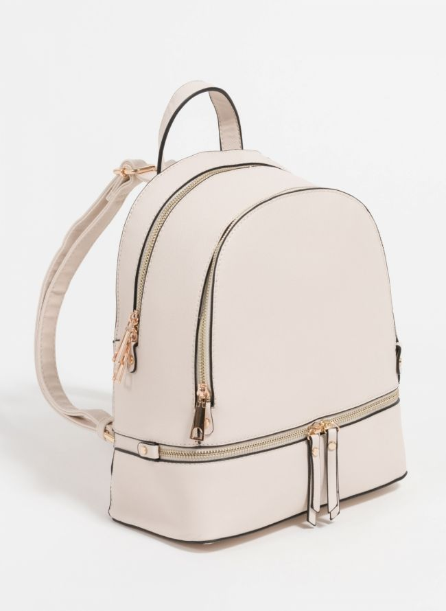 Backpack με αναγλυφο print - Μπεζ