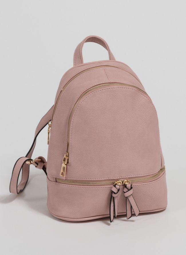 Mini backpack από μαλακού τύπου τεχνόδερμα - Ροζ