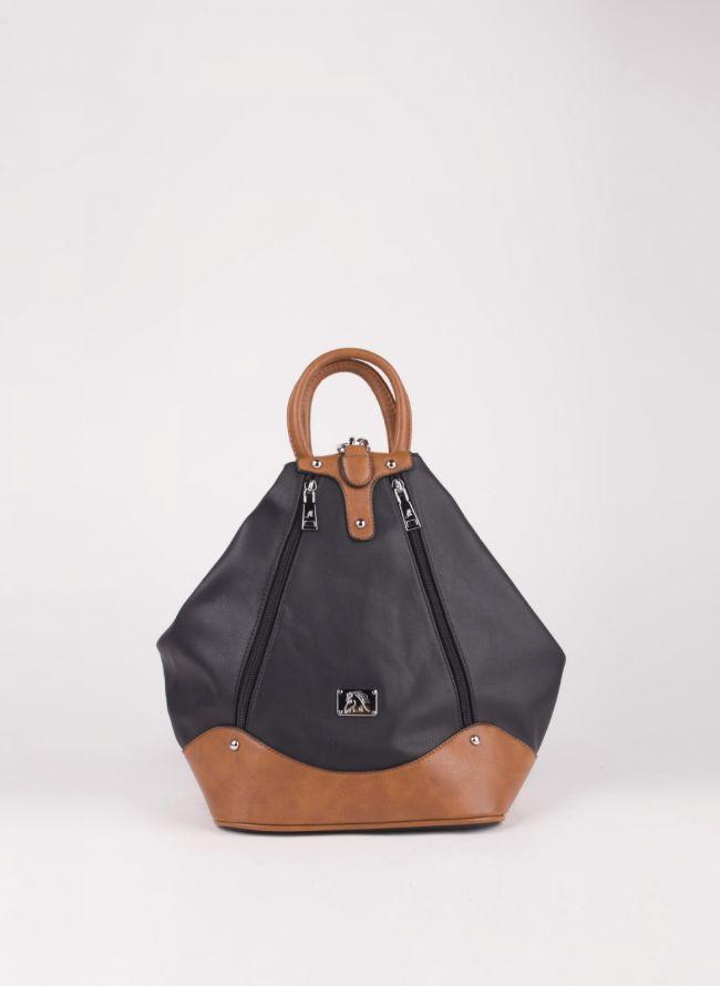 Backpack με εξωτερικά φερμουάρ - Μαύρο