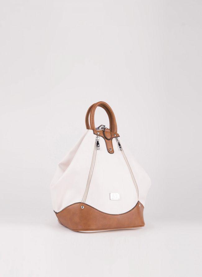 Backpack με εξωτερικά φερμουάρ - Μπεζ