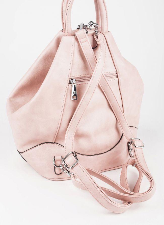 Backpack με εξωτερικά φερμουάρ - Ροζ