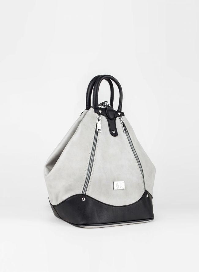 Backpack με εξωτερικά φερμουάρ - Γκρι