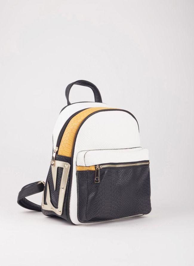 Backpack με εξωτερική θήκη - Λευκό
