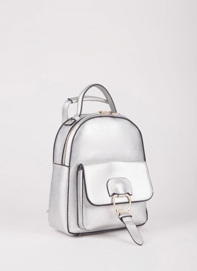 Backpack με εξωτερική θήκη - Ασημί