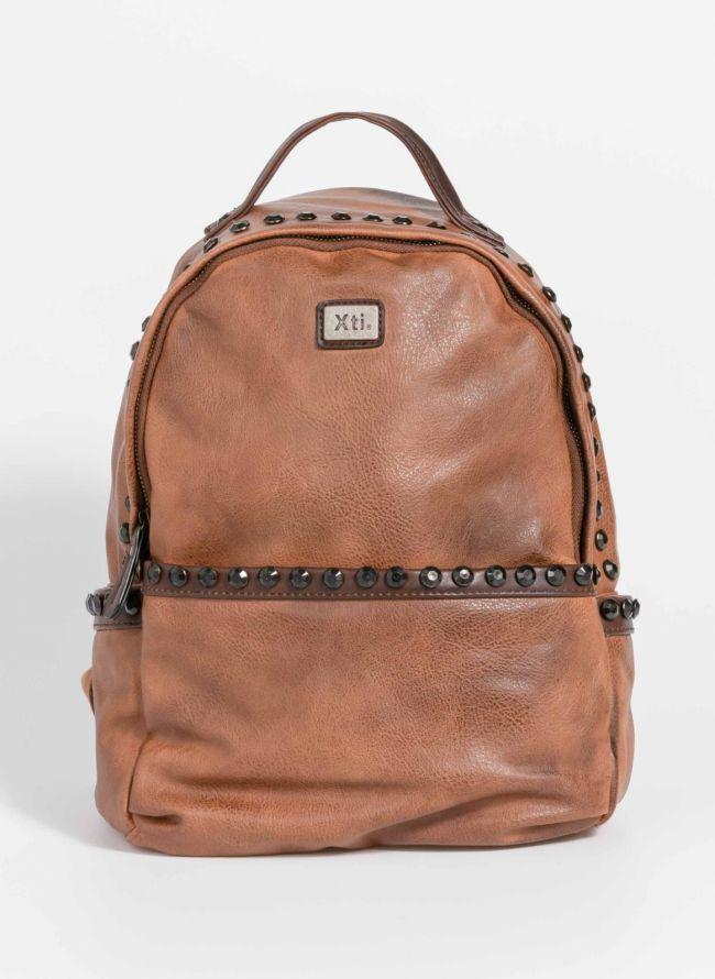 Backpack με εξωτερική θήκη και μαύρα strass - Ταμπά
