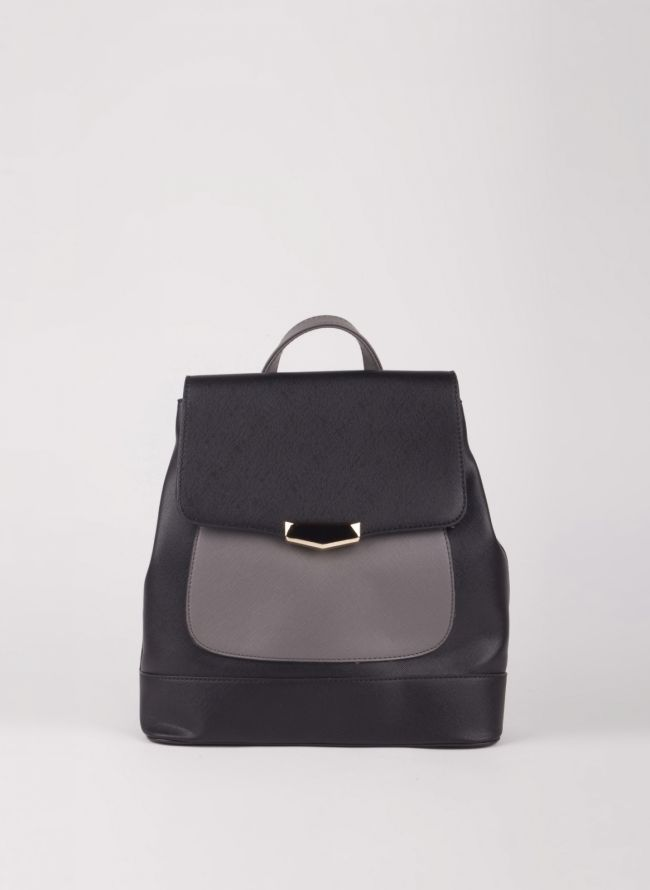 Backpack με καπάκι - Μαύρο