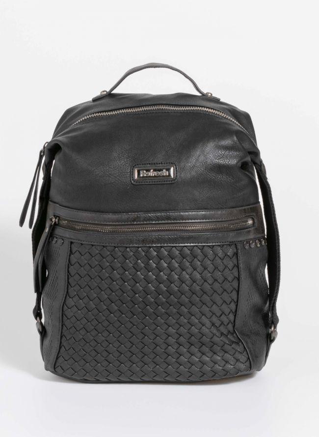 Backpack με λεπτομέρεια από πλεκτό τεχνόδερμα - Μαύρο