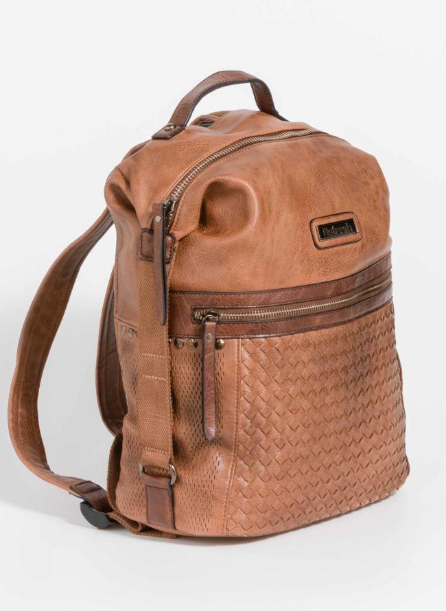 Backpack με λεπτομέρεια από πλεκτό τεχνόδερμα - Ταμπά