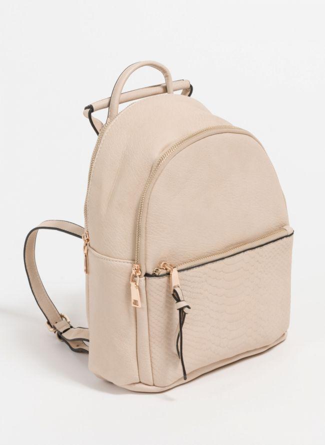 Backpack με snakeprint - Μπεζ