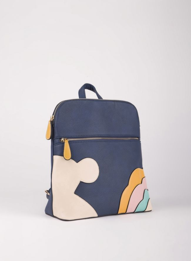 Backpack με σχέδιο - Μπλε σκούρο