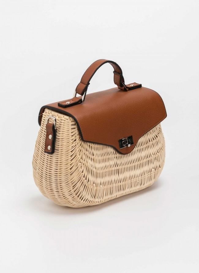 239c0380dd Bamboo χειροποίητη τσάντα με δερμάτινο καπάκι - Μπεζ