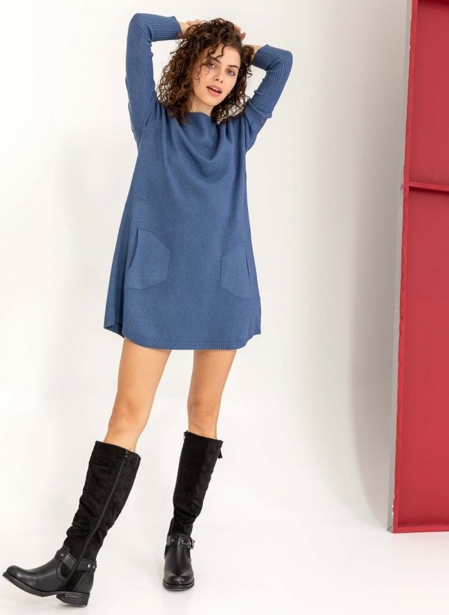 Basic λεπτό πλεκτό φόρεμα με τσέπες - Μπλε fbb9569d195