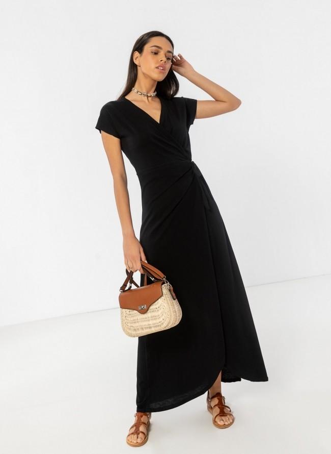 63152cab8ee0 Basic maxi δετό κρουαζέ φόρεμα - Μαύρο