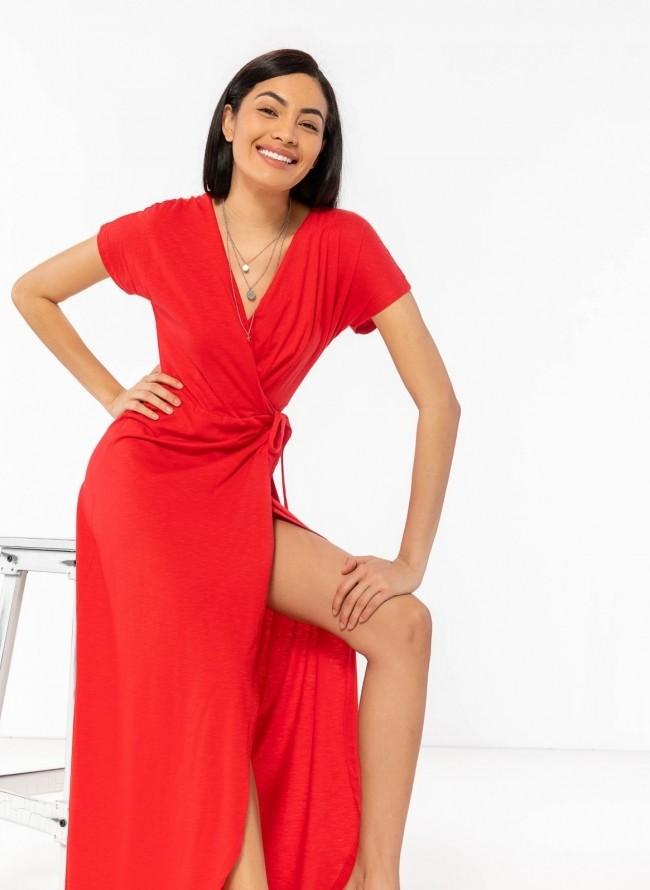 06deb71d8bc0 Basic maxi δετό κρουαζέ φόρεμα - Κόκκινο