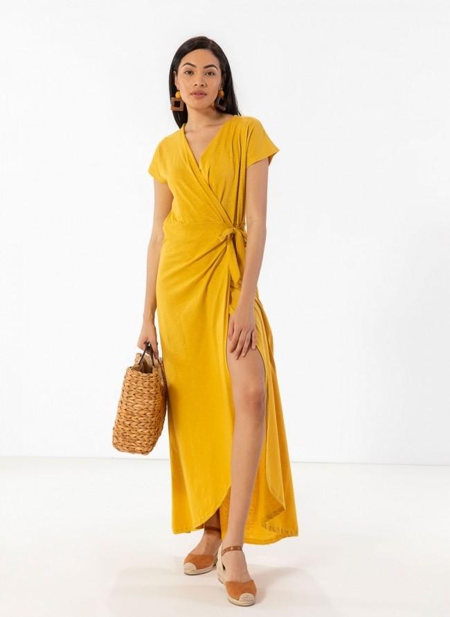 b903056ec109 Basic maxi δετό κρουαζέ φόρεμα - Κίτρινο