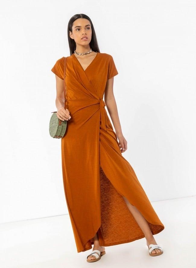 d12674dc343c Basic maxi δετό κρουαζέ φόρεμα - Κανέλα