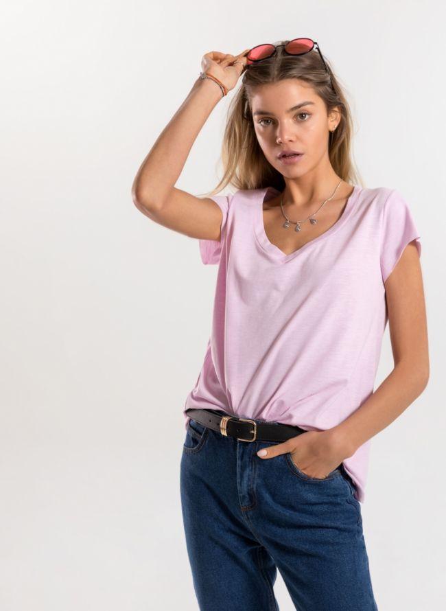 Basic μπλούζα με λαιμόκοψη V - Ροζ