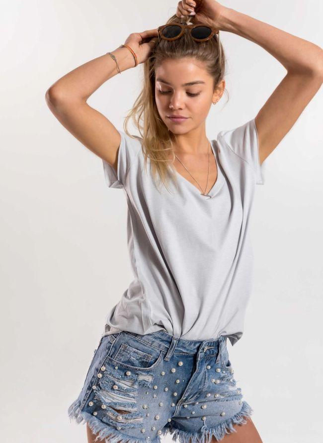 Basic μπλούζα με λαιμόκοψη V - Πάγου