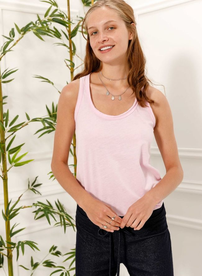 Basic top με αθλητική πλάτη - Ροζ