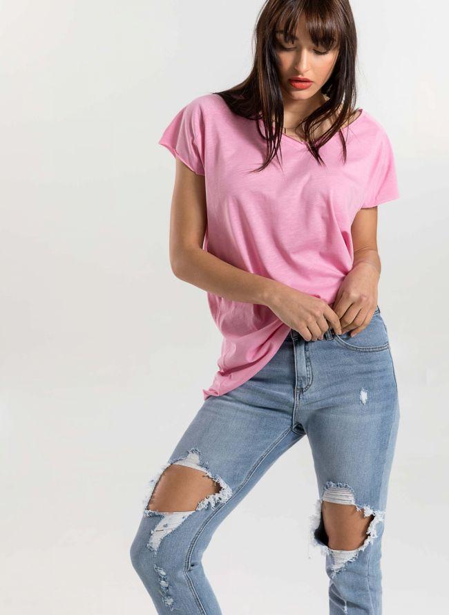 Basic top με λαιμόκοψη  - Ροζ