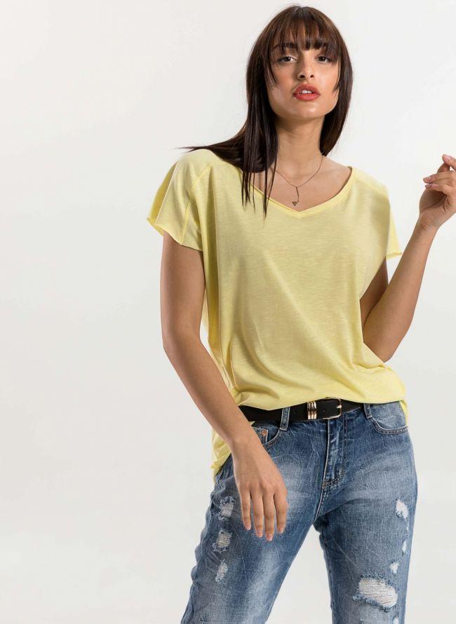 Basic top με λαιμόκοψη  - Κίτρινο