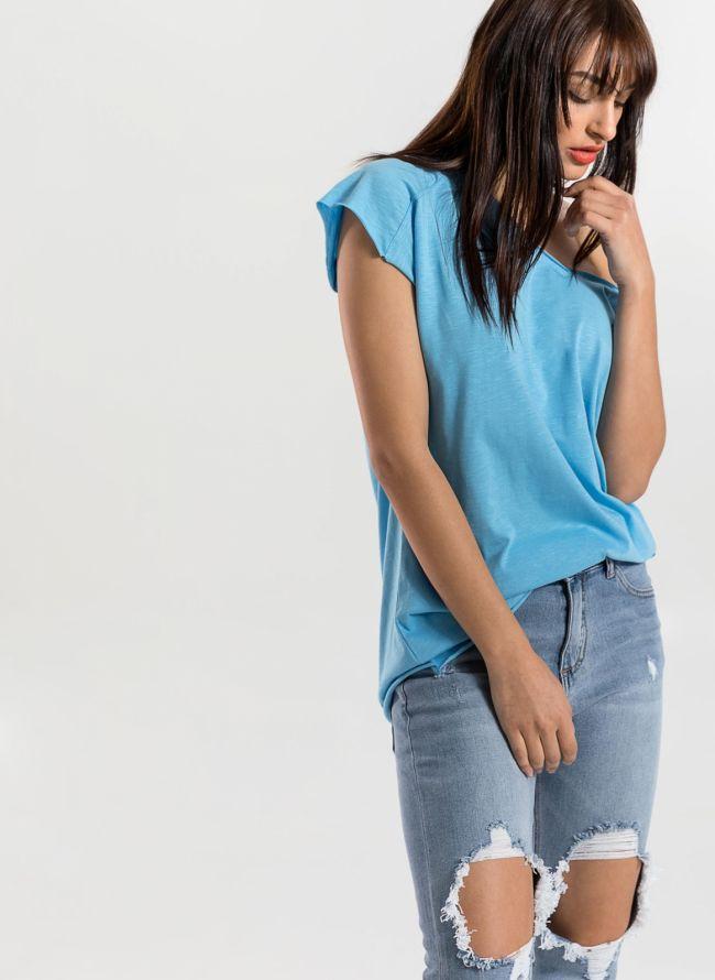 Basic top με λαιμόκοψη  - Γαλάζιο